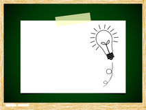 Bulb idea note paper on green board. Background Stock Images