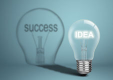 Bulb with idea and shadow with success, business creative concep Royalty Free Stock Images