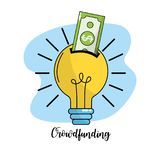 Bulb idea to company business negotiation. Vector illustration Stock Photos