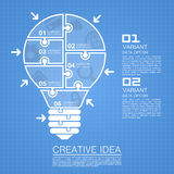 Bulb idea of working with puzzles Stock Image
