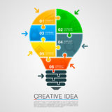 Bulb idea of working with puzzles Royalty Free Stock Photo