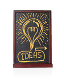 Bulb Ideas written on chalkboard isolated object Stock Photos