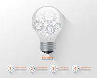 Bulb infographic and business creative concept. gear brocess in light bulb.vector Royalty Free Stock Photography