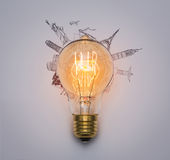 Bulb (Japan,France,Italy ,New York,India,egypt) Royalty Free Stock Image