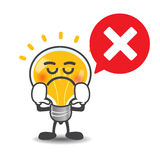 Bulb lamp cartoon  say no with red speech bubble on the Stock Photography