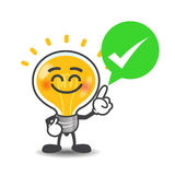 Bulb lamp cartoon  say right with green speech bubble an Royalty Free Stock Images