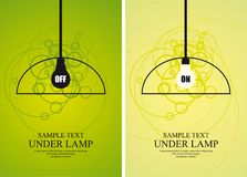 Bulb and lamp on circle background. In two different colour versions. Full editable illustration Stock Images