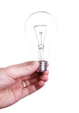 Bulb (lamp) in hand, isolated on white Stock Photo