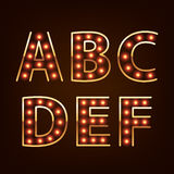 Bulb lamp neon letters abc vector illustration. Royalty Free Stock Photos