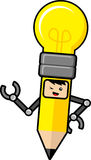 Bulb lamp pencil cartoon character Stock Photos