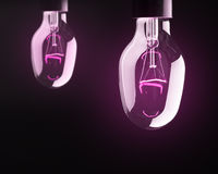 Bulb lamps with purple light Royalty Free Stock Photography