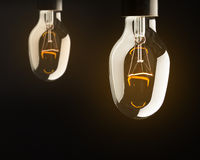 Bulb lamps with yellow light Stock Photography