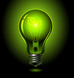 Bulb-leaf. Vector green lightbulb, ecology concept Royalty Free Stock Images