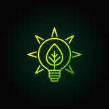 Bulb with leaf green icon. Vector eco energy concept symbol in thin line style on dark background Stock Photography