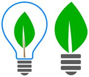 Bulb leaf logo. Simple illustration of green leaf light bulb save eco energy concept Royalty Free Stock Photos
