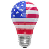 Bulb light with American flag Royalty Free Stock Photography