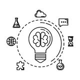 Bulb light with brain storming and business icons vector illustration