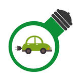 Bulb light with eco car inside Royalty Free Stock Image