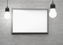 Bulb light with frame on the wall for your text, logo, image. 3d Stock Photography