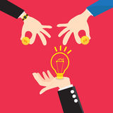 Bulb light in Hand change Money. Vector Design Hands of a businessman with a light bulb idea change Money Royalty Free Stock Photography