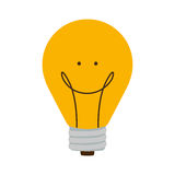 Bulb light with happy face and filament Stock Photography