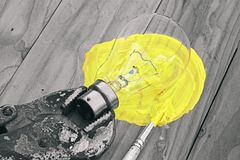 Bulb light. Bulb Light, Idea Concept, Tools and idea, Glowing bulb by painting stock photos