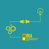 Bulb light idea with switch and gears Royalty Free Stock Photos