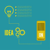 Bulb light idea with switch and gears Royalty Free Stock Images