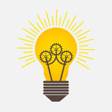 Bulb Light Ideas with Gears Logo royalty free illustration