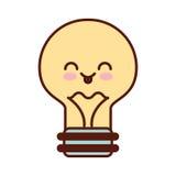 Bulb light kawaii flat icon Royalty Free Stock Image