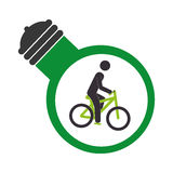 Bulb light with man in bike inside Royalty Free Stock Photos