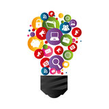 Bulb light with social media icons Stock Images