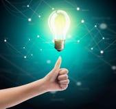 Bulb light on women thumb Stock Photography