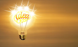 Bulb, lighting idea, brain on sunrising background. Royalty Free Stock Photos