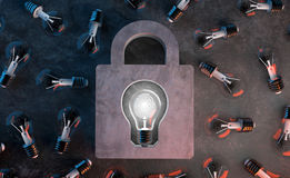 Bulb lights, Copyright protect and lock creative idea. Bulb lights, Copyright protect and lock fingerprint Identification of creative idea Royalty Free Stock Photography