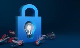 Bulb lights, Copyright protect and lock creative idea. Bulb lights, Copyright protect and lock fingerprint Identification of creative idea Stock Photos