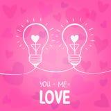 Bulb love. Illustration of two light bulbs symbol of love Royalty Free Stock Photo