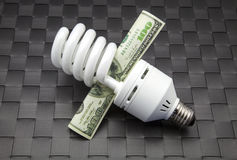 Bulb of low consumption. And ticket of dollars Stock Images