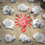 Bulb made of paper and crumpled wads Stock Image