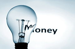 Bulb and money Stock Photos