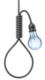 Bulb with noose. Bulb with the noose from cable - 3D concept Stock Photos