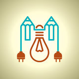 Bulb and pencil, idea concept Stock Photography