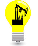 Bulb with pump jack Royalty Free Stock Photos