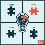 Bulb puzzle icon isolated Royalty Free Stock Image