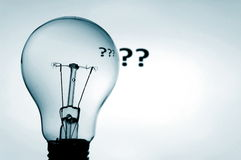 Bulb and question mark. Showing concept of solving a problem Royalty Free Stock Image