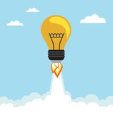 Bulb Rocket. Flying in the sky. Vector illustration Royalty Free Stock Photo