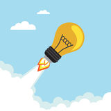 Bulb Rocket. Flying in the sky. Vector illustration Stock Photography
