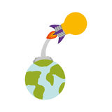 Bulb rocket icon. Rocket startup bulb launcher and earth planet isolated icon vector illustration design Stock Photos