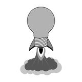 Bulb rocket icon. Rocket startup bulb launcher isolated icon vector illustration design Stock Photography
