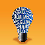 Bulb of seo analysis socialmedia backlinks share blog. This image is useful in seo Stock Photography